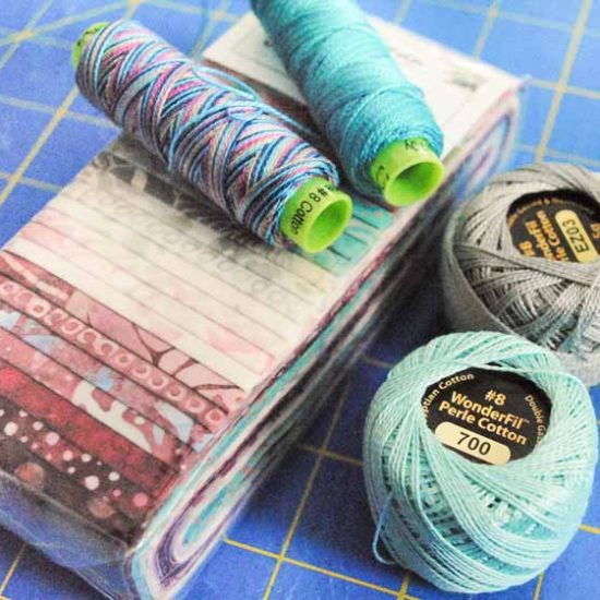 A jelly roll with the co-ordinating Eleganza threads