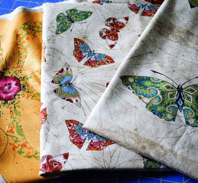 Three of the Euphoria fabrics from Northcott