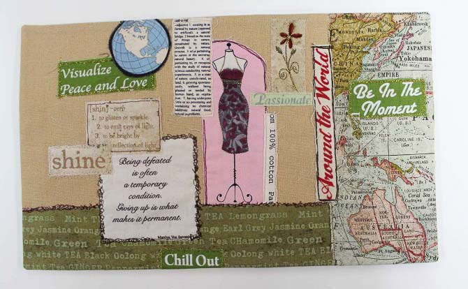 Outside of the fabric journal cover collage.