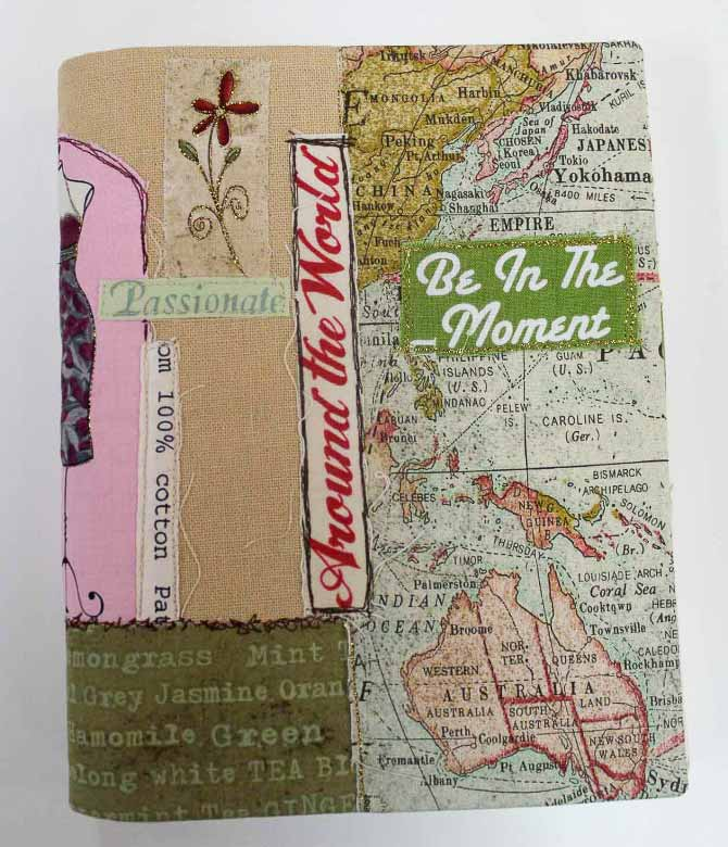 Ta-da! The finished fabric journal cover collage.