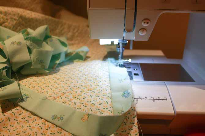 """Applying binding with my PFAFF Passport 3.0, the ¼"""" foot and IDT system."""
