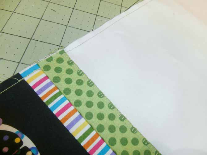 """The pillow case is stitched along the raw edges using a ¼"""" seam or less."""