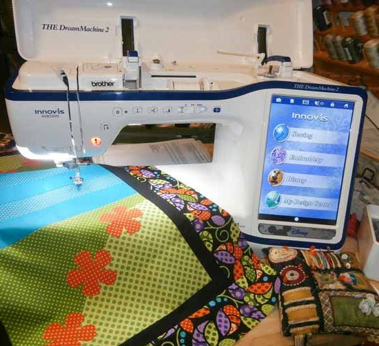 Getting ready to machine applique my table runner on THE Dream Machine 2