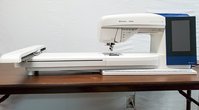Husqvarna Viking Designer Brilliance 80 sewing machine with embroidery unit attached