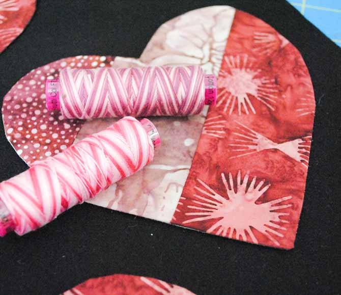 The hearts will be appliqued to a black wool background using Fruitti thread from WonderFil