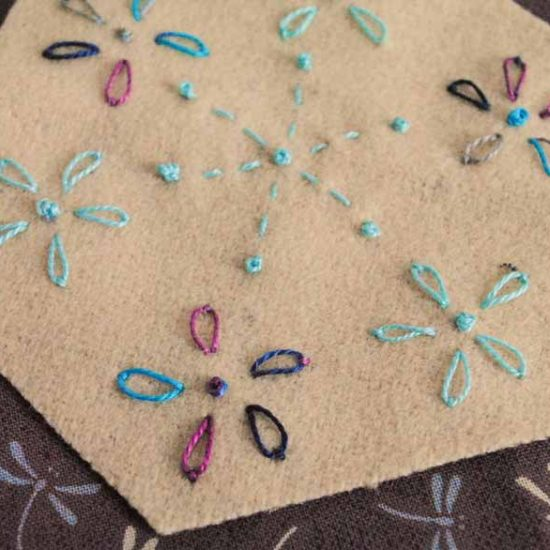 French knots and lazy daisy stitches