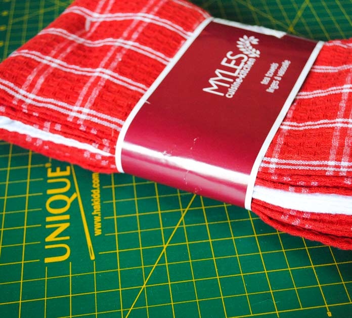 Plaid tea towels can be bought at almost any store and are great bases for embroidery using THE Dream Machine 2.
