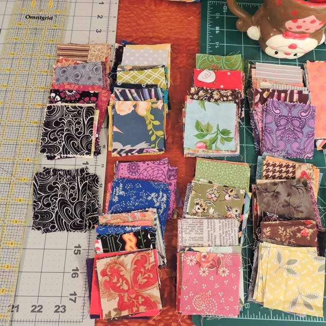 Squares ready to sew