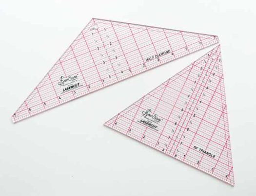 "Sew Easy Half Diamond Ruler – 4½"" x 14¼"" and the Sew Easy Triangle Ruler 60° – 8"" x 9¼"""