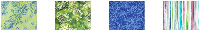 4 fabrics from the Banyan Batik Boho Beach collection