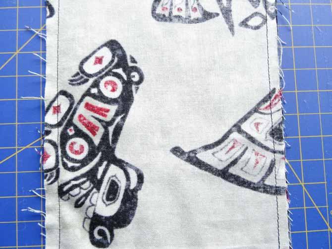 Sew a seam on each edge of the fabrics strips.