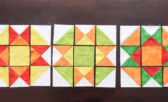 The 3 quilt block layouts to complete the quilt top.