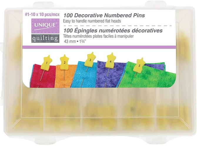 UNIQUE QUILTING 1-10 Numbered Marking Pins will be used to keep things organized while assembling a baby quilt.