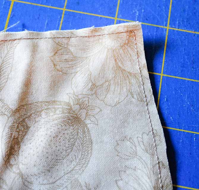 """The pillowcase body is show with a ⅛"""" seam sewn along both edges."""