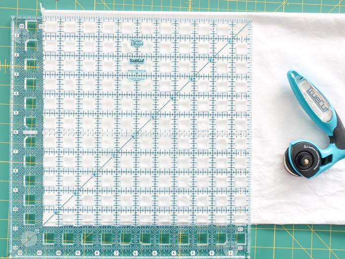 "10½"" x 10½"" squares are cut using the TrueCut 12½"" X 12½"" quilting ruler."