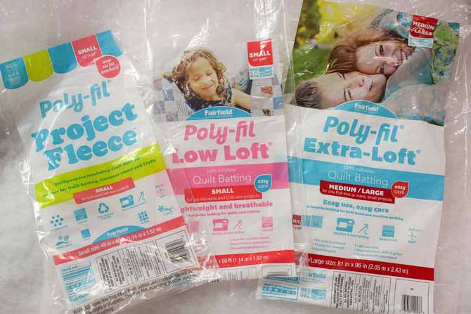There are a number of sizes of packages of Project Fleece, Poly-Fil Low-Loft and Extra-Loft battings from Fairfield