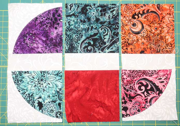 "Examples of some of the 5"" x 10½"" pieces sewn."