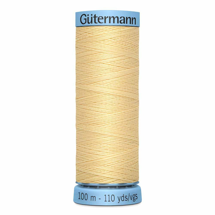 GÜTERMANN 100% Spun Silk Thread 100m - Lt. YellowThe thread on which GÜTERMANN was founded. Synonymous with quality and luxury; Gütermann 100% spun silk has beautiful luster and can be used for construction seams, or buttons and button holes in fine garments, or for ornamental and decorative stitching. Suitable for hand and machine sewing. Blue spool color.