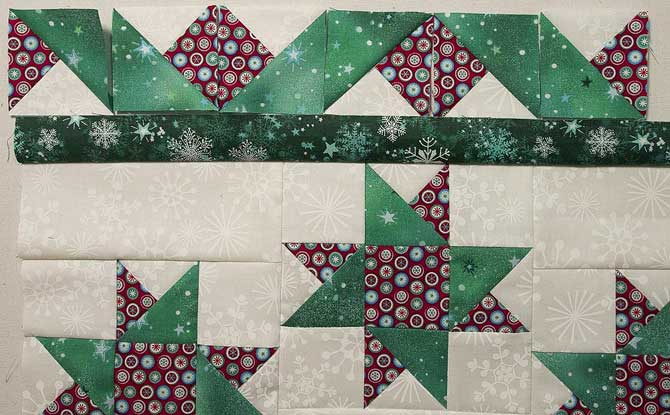 Red squares with green parallelograms