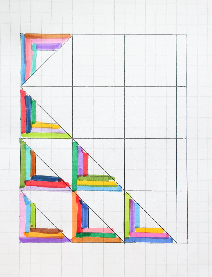 "A colorful sketch of this week's modern quilt project 59¼"" x 73½"""