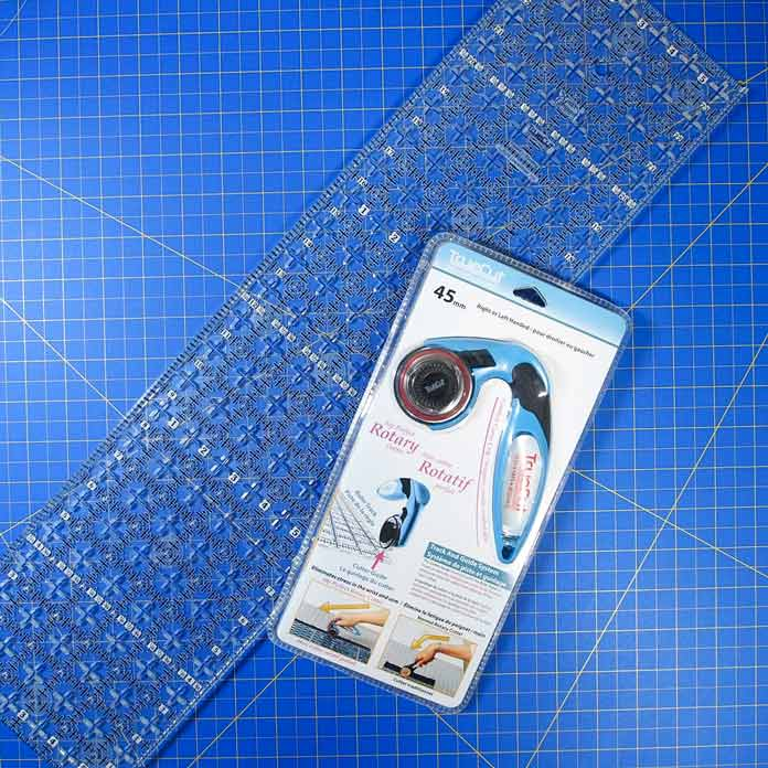 TrueCut ruler and rotary cutter