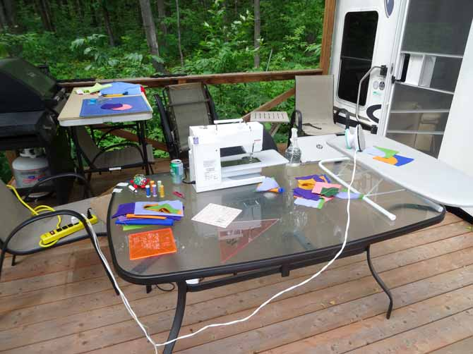 Sewing outside enjoying the great weather.