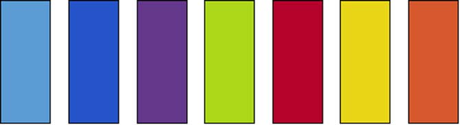 "Cut 6 - 3"" x 7½"" strips from each solid color fabric"
