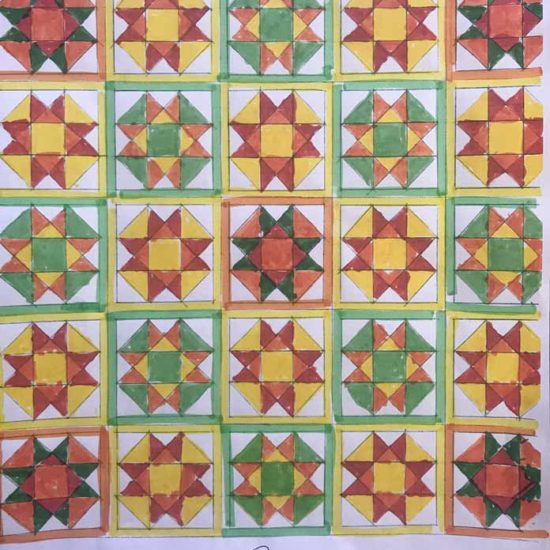 """My sketch of the quilt we'll be working on this week, 84½"""" X 84½""""."""