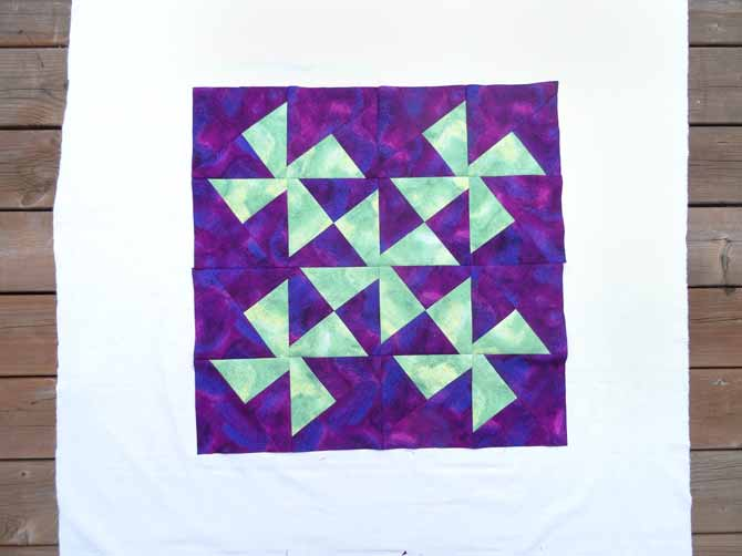 Sew all blocks and rows together.