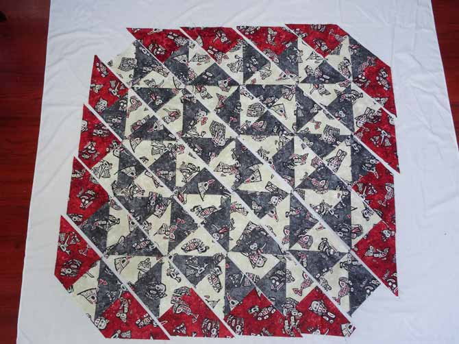 To ensure their correct placement lay rows diagonally prior to sewing.