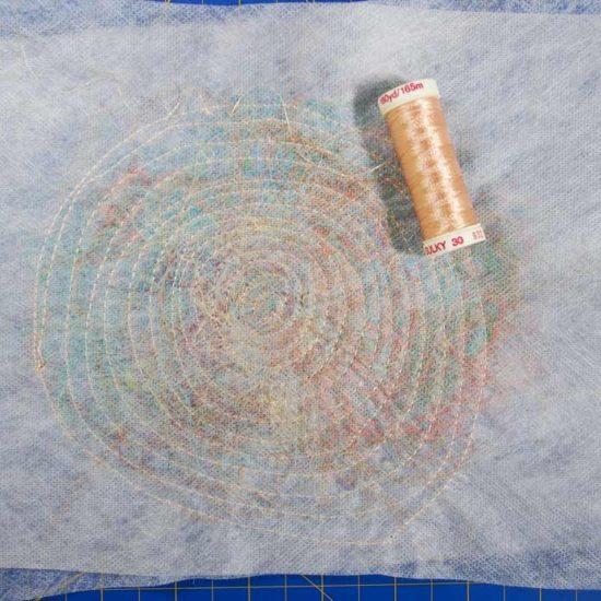 Spiral stitching on stabilizer