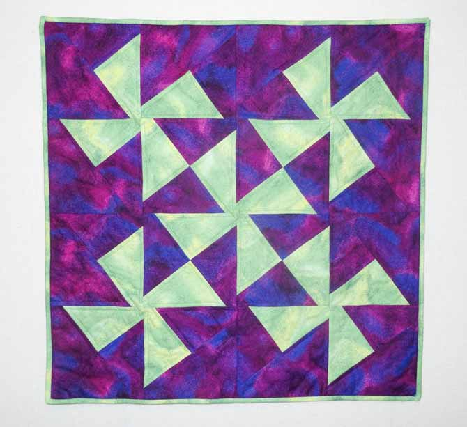 The completed pinwheel quilt