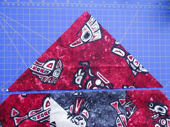 Center the corner triangle piece and sew.