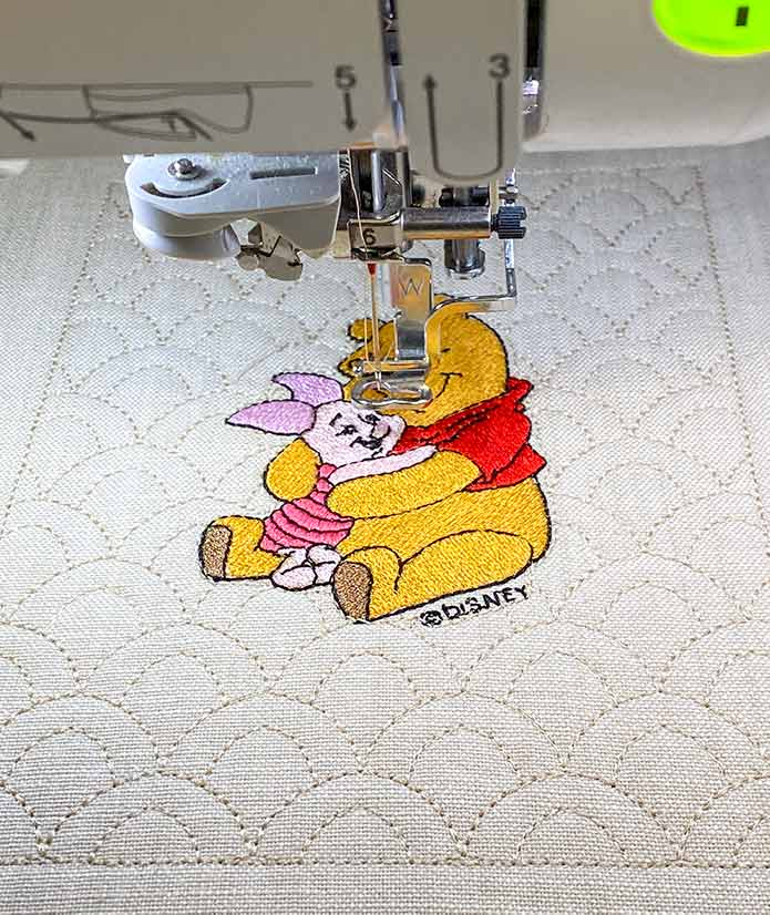 The Winnie the Pooh quilt block embroidered on the Brother Luminaire 2 Innov-ìs XP2