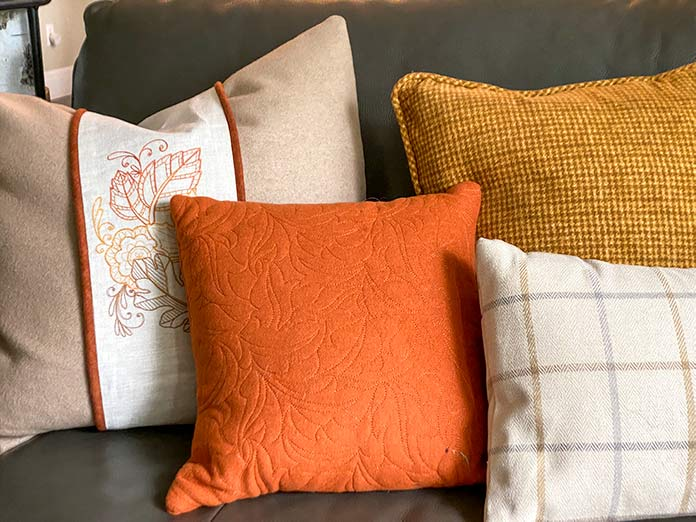 A collection of Fall pillows stitched and embroidered using the Brother Luminaire 2 Innov-ìs XP2.