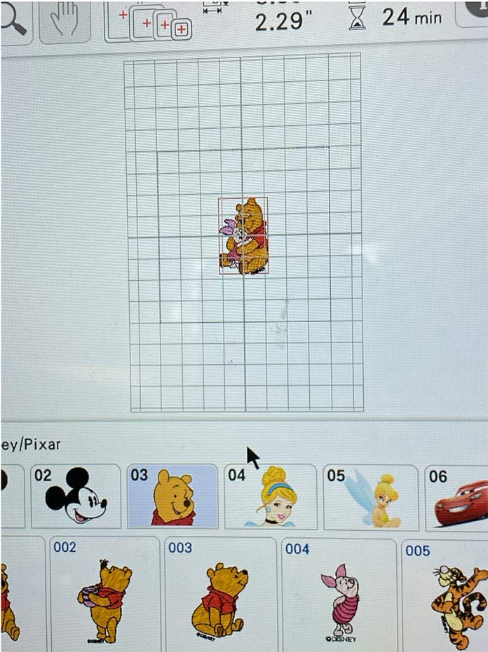 Winnie the Pooh hugging Piglet Embroidery Design. Brother Luminaire 2 Innov-ìs XP2