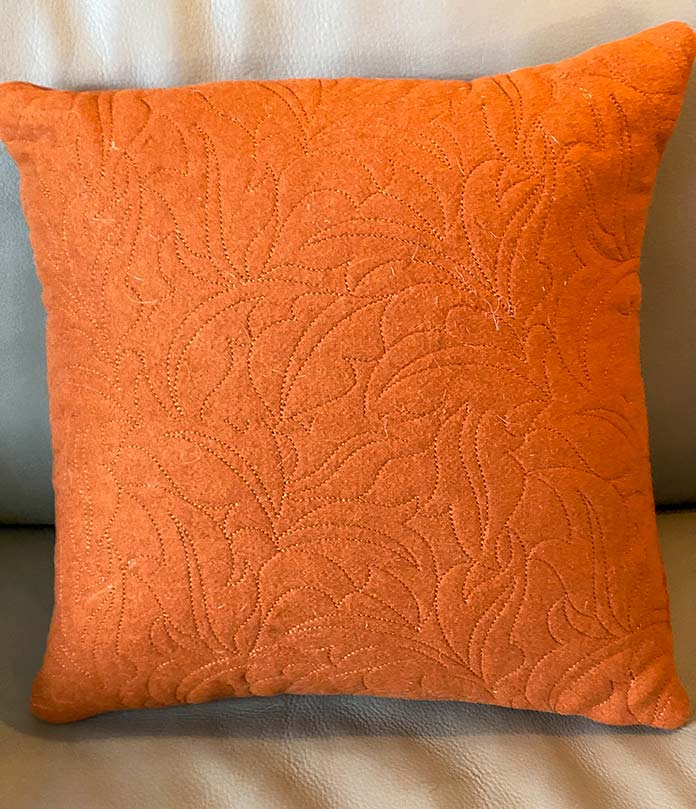Completed QuiltBroidered boiled wool pillow