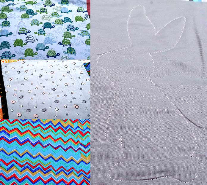 The machine quilting of the turtle is shown on the turtle fabric, the elephant is shown on both the gray dotted fabric and the multi-colored zigzag fabric and the bunny is shown on solid gray fabric.
