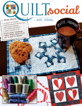 Cover page of QUILTsocial Winter 2014/15 Issue.