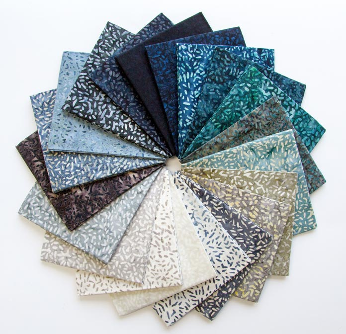 20 Fat quarters of beautiful Ketan essentials by Banyan Batiks in the Mint Mocha colorway.