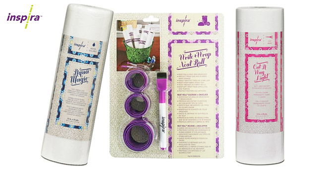 INSPIRA® Aqua Magic stabilizer, Write & Wrap Neat Roll, INSPIRA® Cut-A-Way Light stabilizer.