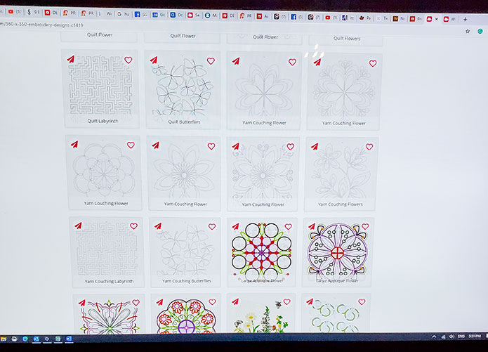 A partial grouping of the embroidery files in the mySewnet Library for the DESIGNER Majestic Hoop