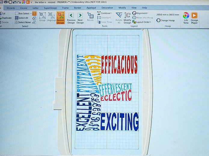 The letter E created in the Word Sculpt Wizard of the PREMIER +2 Embroidery Software System