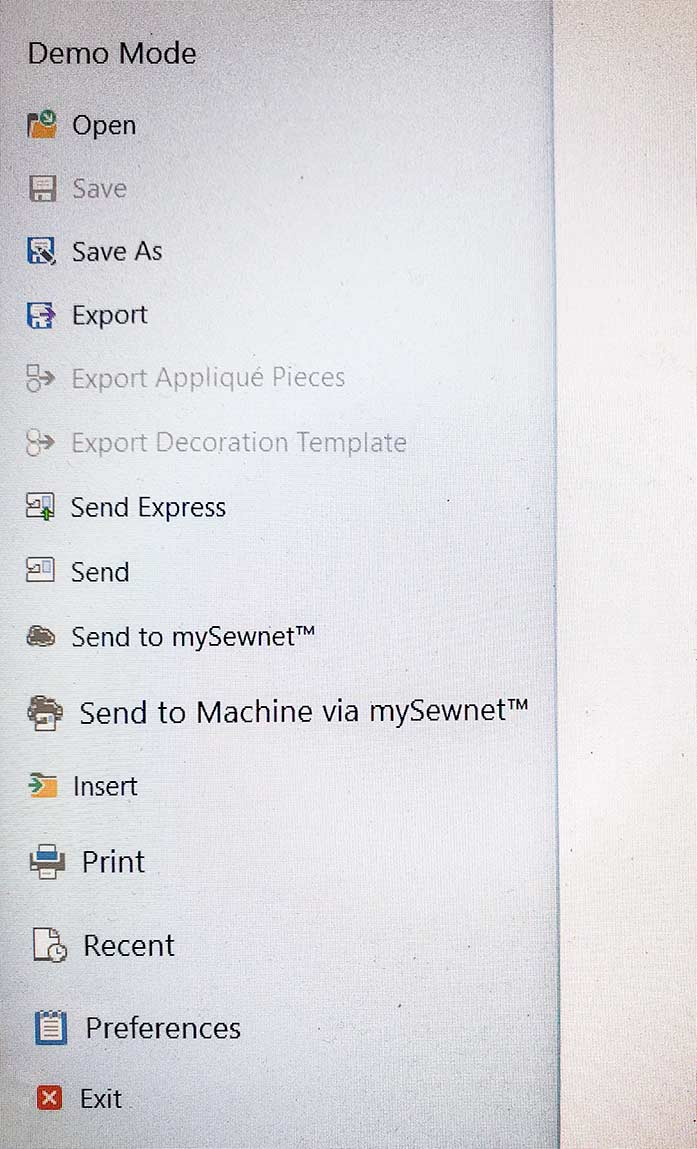 Menu options for saving a design file using mySewnet