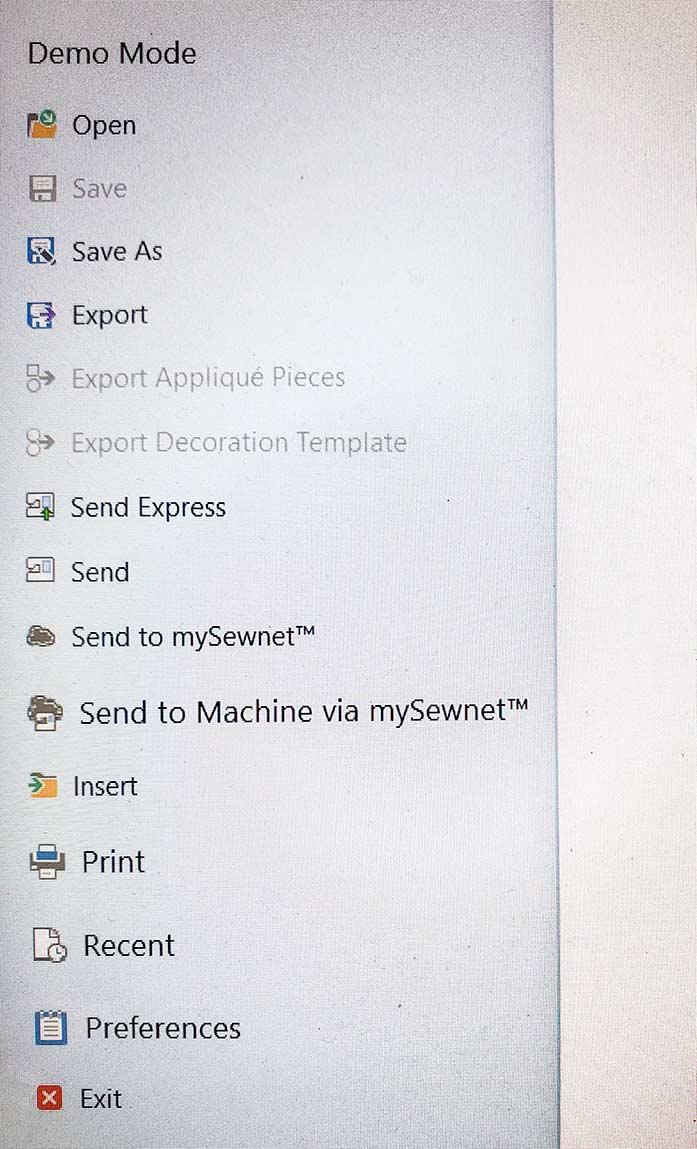Menu options for saving a design file using mySewnet