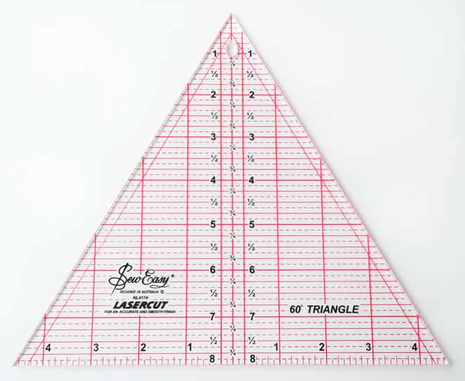 """SEW EASY Triangle Ruler 60° - 8"""" x 9¼"""" is normally used for making triangles but other great uses can also be discovered by playing!"""