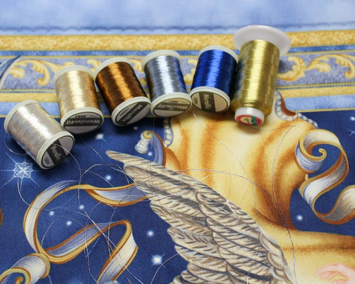 Choose thread colors by laying the strands on the quilt.