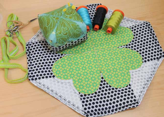 The lucky charm square table topper made with the PFAFF passport 3.0.