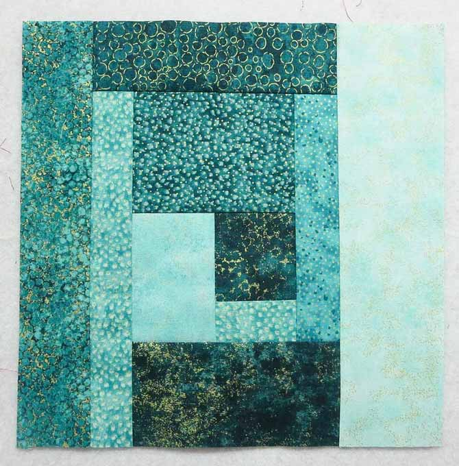 "The finished 10½"" block made with Northcott's Artisan Shimmer fabrics."