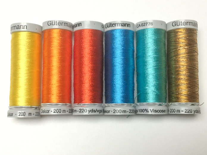 A selection of Gütermann rayon thread